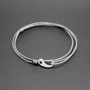 Men's Micro Cord Adjustable Bracelet in Grey