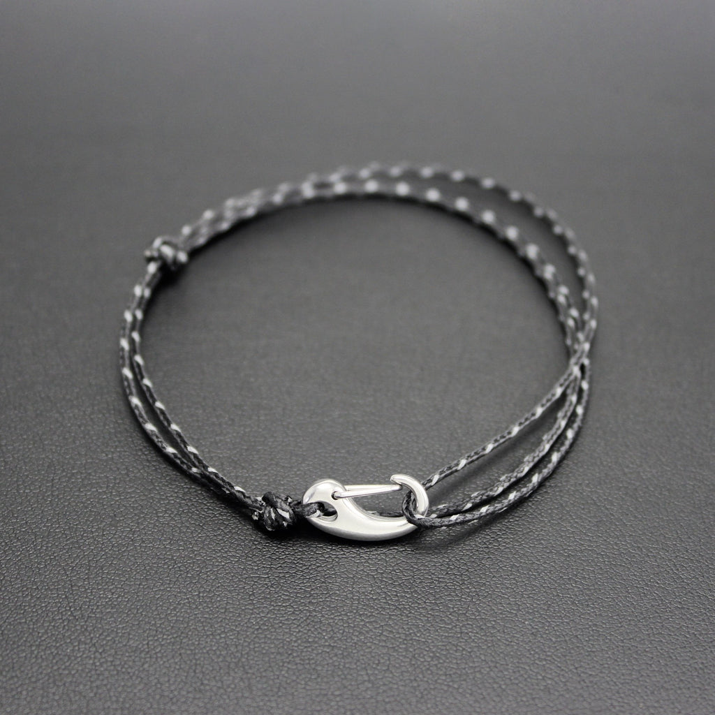 Men's Micro Cord Adjustable Bracelet in Black Reflective