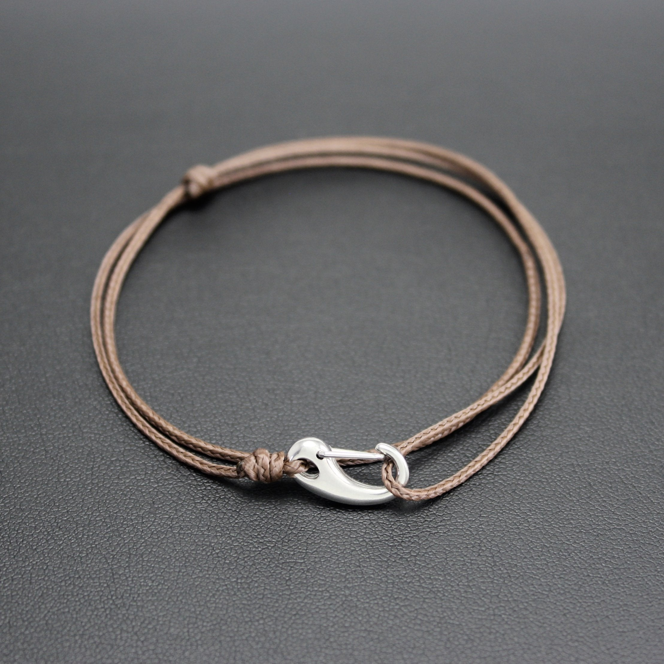 Men's Micro Cord Adjustable Bracelet in Brown