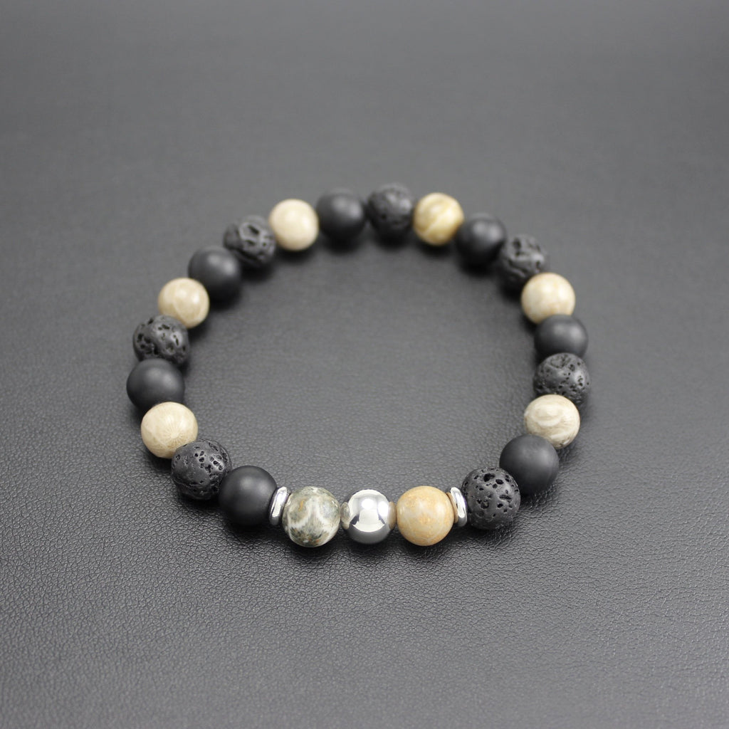 Men's Matte Onyx, Lava Stone and Fossil Bracelet