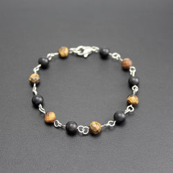 Men's Stainless Steel, Onyx and Tigers Eye Linked Bracelet