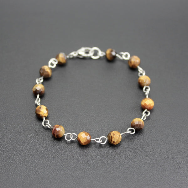 Men's Stainless Steel and Tigers Eye Linked Bracelet