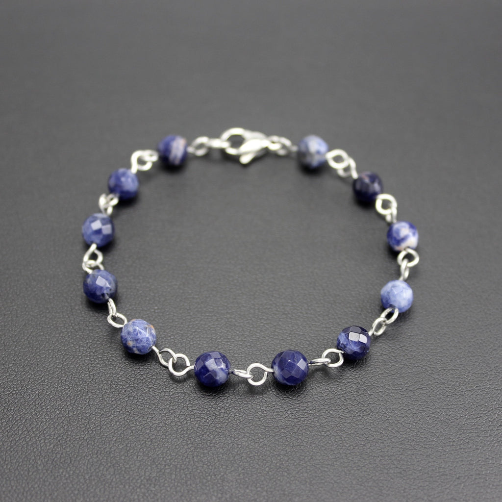 Men's Stainless Steel and Sodalite Linked Bracelet