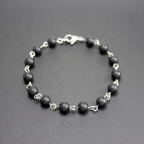 Men's Stainless Steel and Matte Black Onyx Linked Bracelet