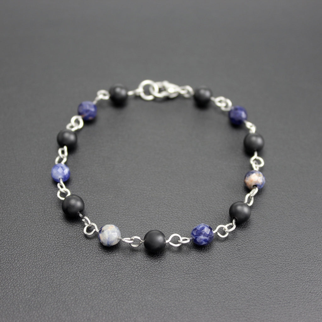 Men's Stainless Steel, Onyx and Sodalite Linked Bracelet