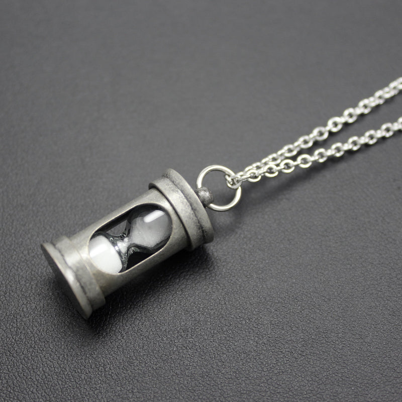 Men's Antique Silver Hourglass Pendant Necklace