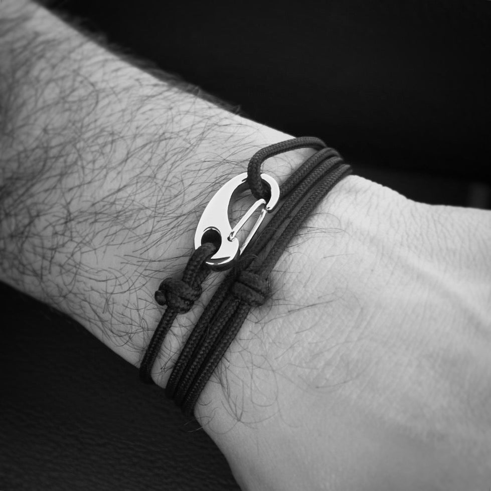 Classic Tactical Cord and Stainless Steel Bracelet in Black Reflective