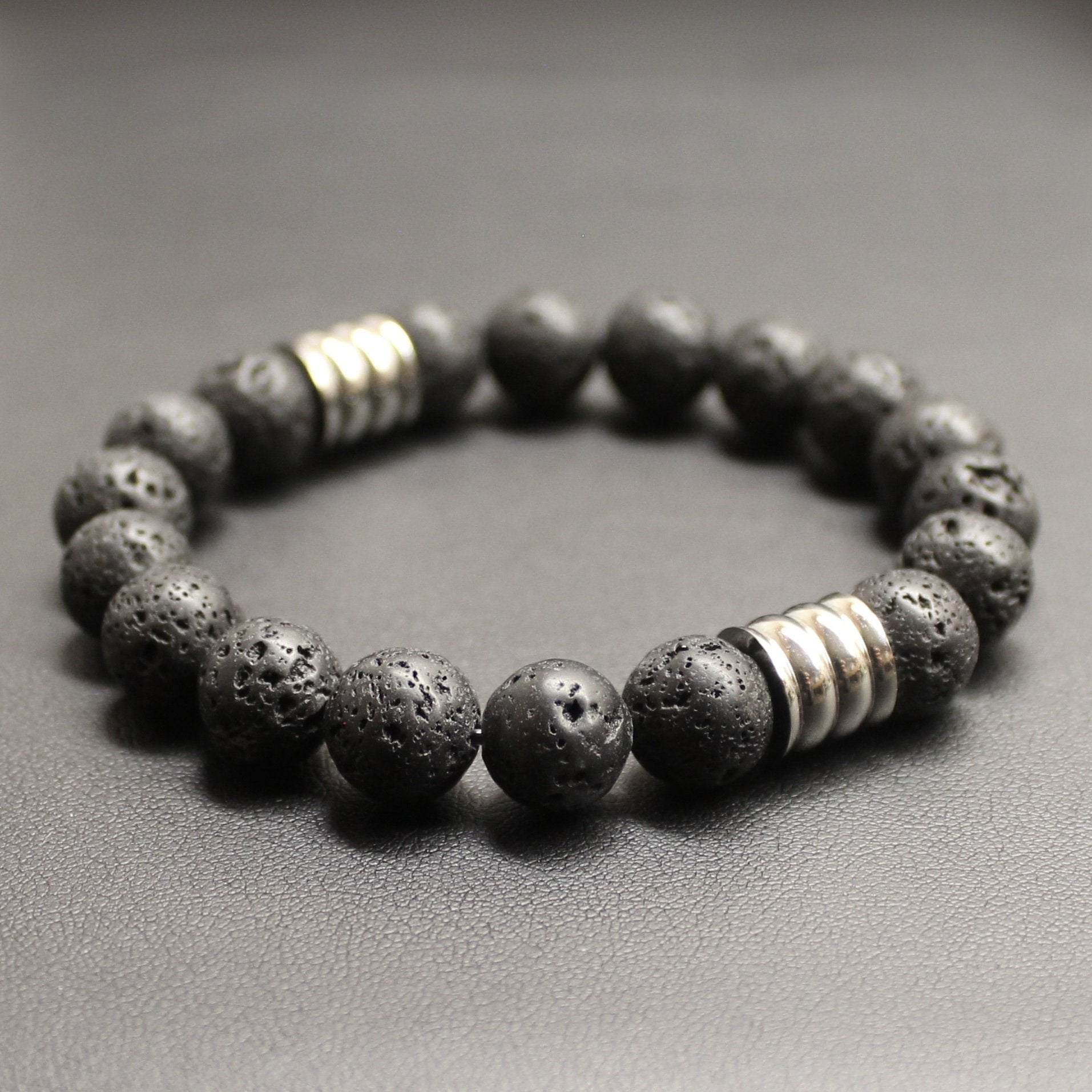 Men's Lava Rock Stone and Stainless Steel Bracelet