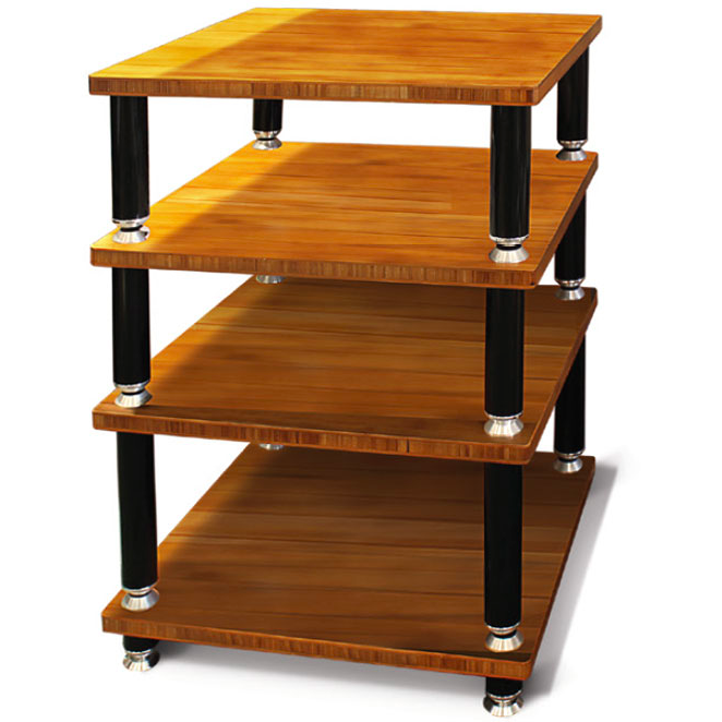 NorStone Stabbl Four Bamboo Shelf Hi-Fi Audio Rack in Bamboo