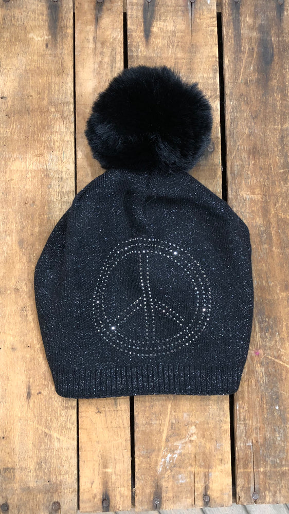 Peace Sign Pom Hat