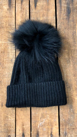 Black Fur Pom Hat