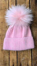 Pink on Pink Fur Pom Hat