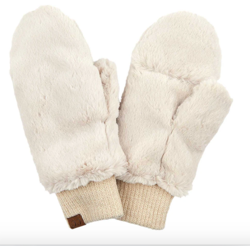 Furry Convertible Mitten Cream