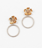 Gold Flower with White Opal Hoop Earring