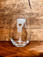 Vermont State Cut-Out Stemless Wine Glass