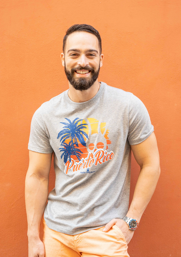 "Men's Graphic Crew Neck ""Puerto Rico""- Heather Grey"