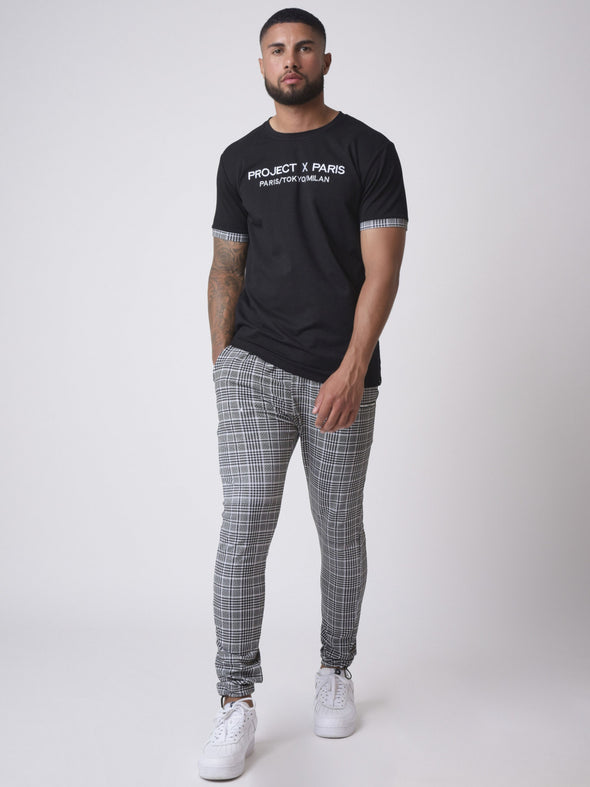 Embroidery Checkered Iapel T-shirt