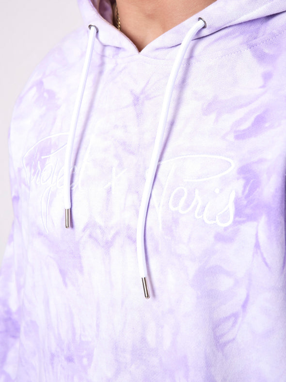 Tie & dye logo embroidery Hoodie-Mauve