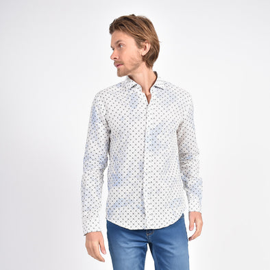 Splash in Linen Shirt Royal Blue