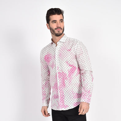 Splash in Linen Shirt Hot Pink