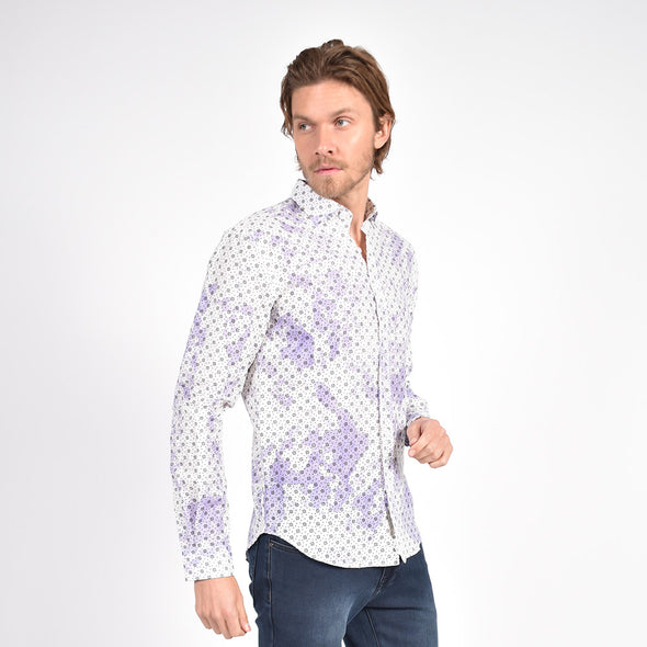 Splash in Linen Shirt Purple
