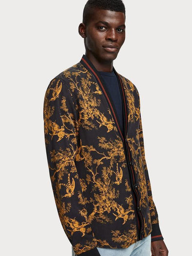Toile De Jouy Cardigan - Black & Gold