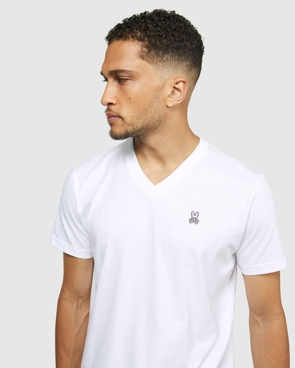 Men's V Neck Tee - White