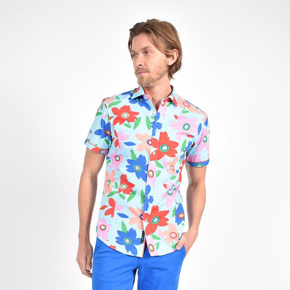 Coral Pop Art Print Shirt