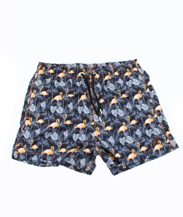 Flamingo and Palm Print Trunks