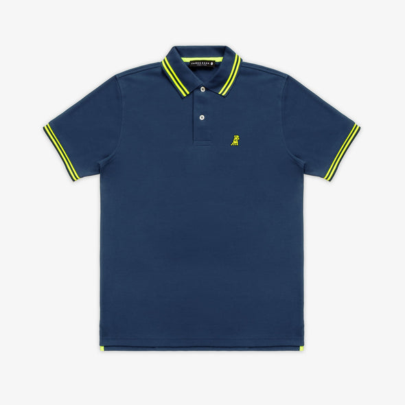 Frenchie Neck Detail Polo - Navy/Green