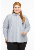 kemeja wanita saiz besar plus size women office shirt aurora stripe in dark grey #Color_Stripe Dark Grey