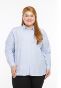 kemeja wanita saiz besar plus size women office shirt aurora stripe in blue #Color_Stripe Blue