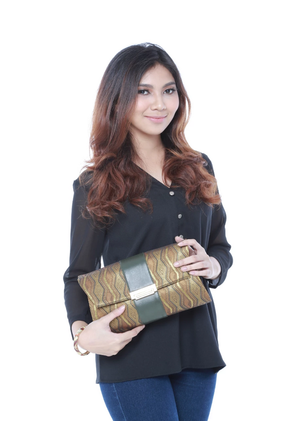 Songket Clutch in Green - Bob Rock LoveLily
