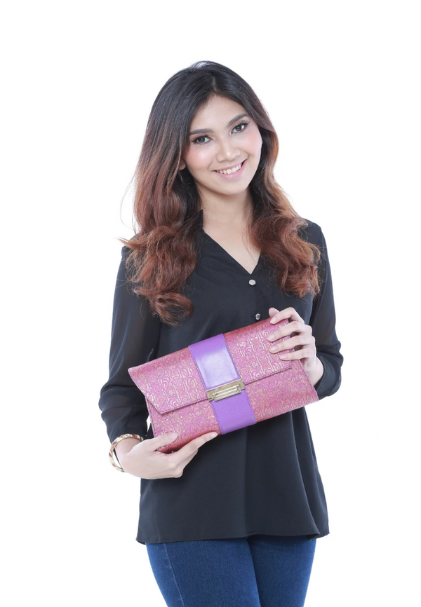 Songket Clutch in Berry - Bob Rock LoveLily