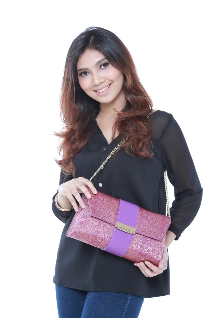 Exclusive Songket Clutch in Berry