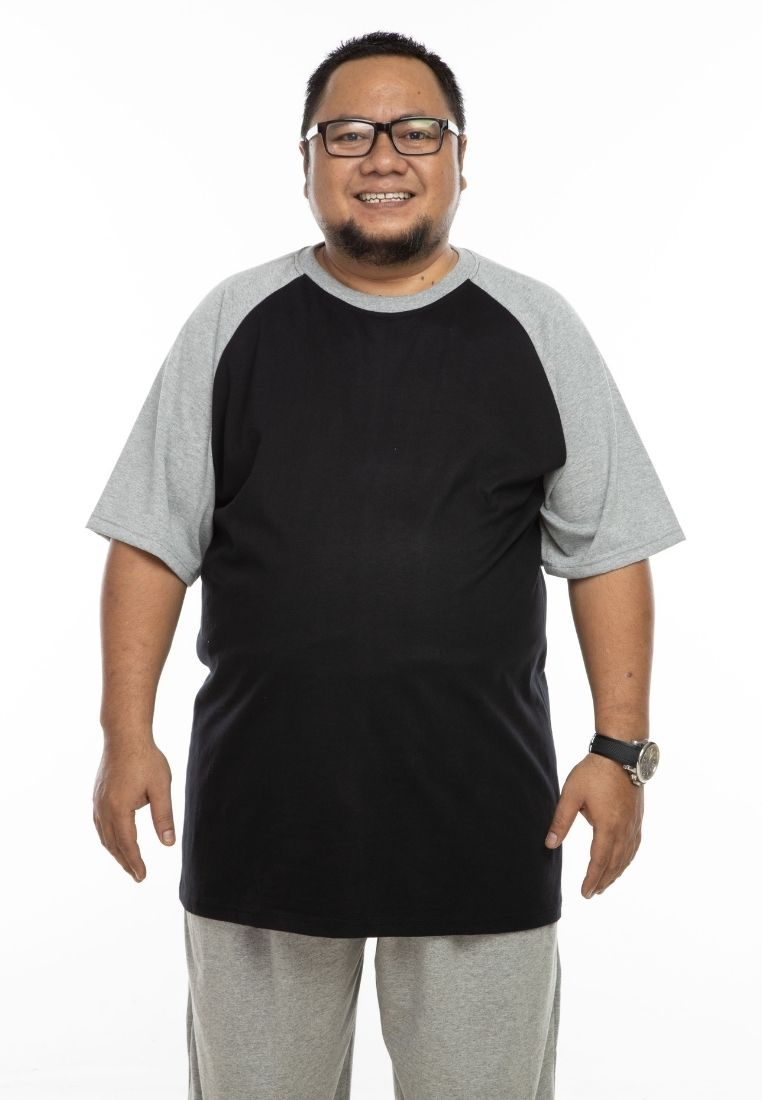 baju saiz besar plus size shirt mr big raglan t-shirt in black