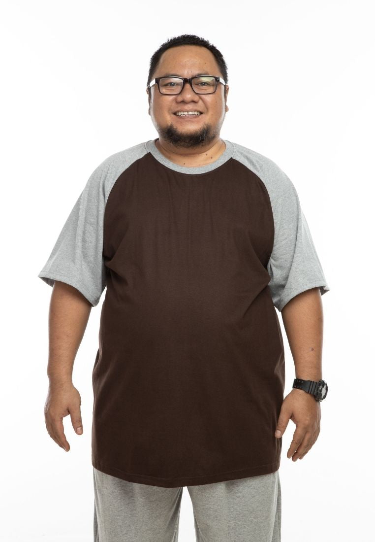 baju saiz besar plus size shirt mr big raglan t-shirt in brown