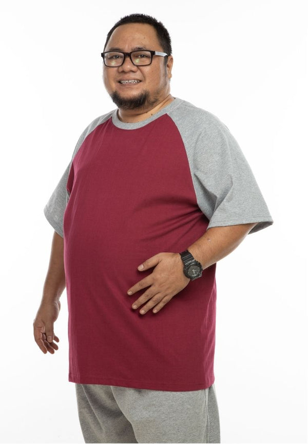 baju saiz besar plus size shirt mr big raglan t-shirt in maroon #Color_Maroon