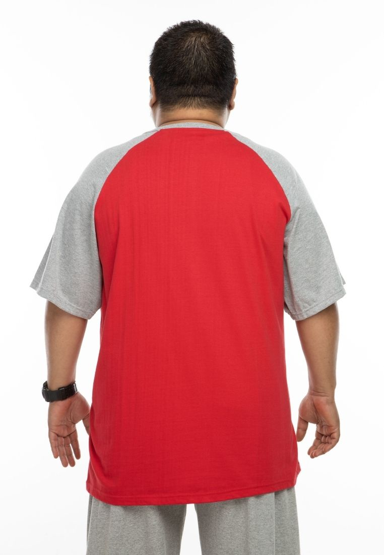 baju saiz besar plus size shirt mr big raglan t-shirt in red