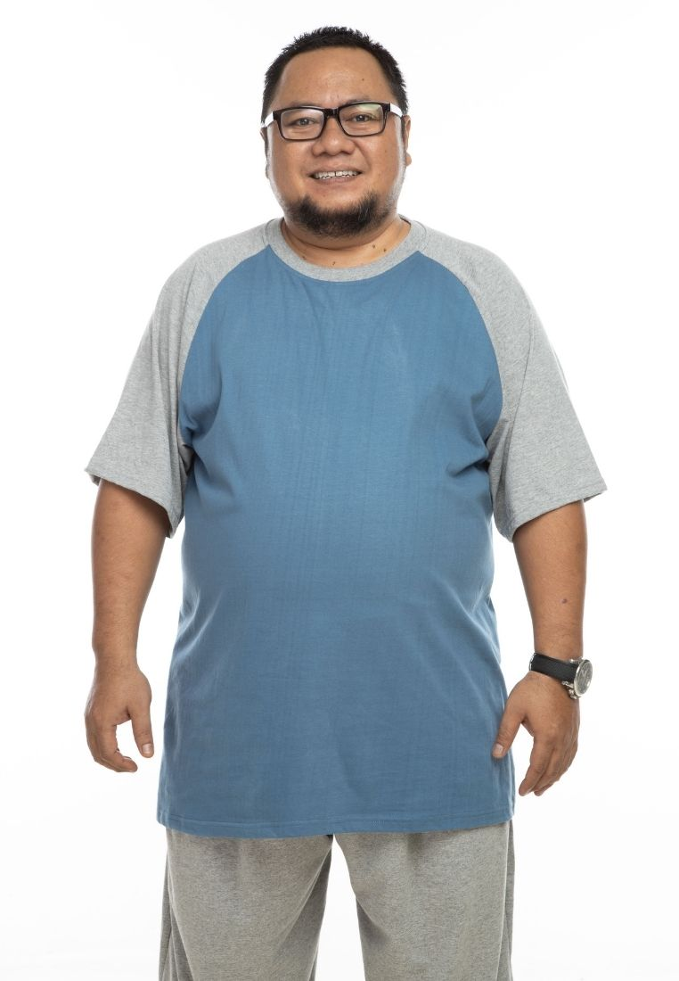 baju saiz besar plus size shirt mr big raglan t-shirt in stormy blue