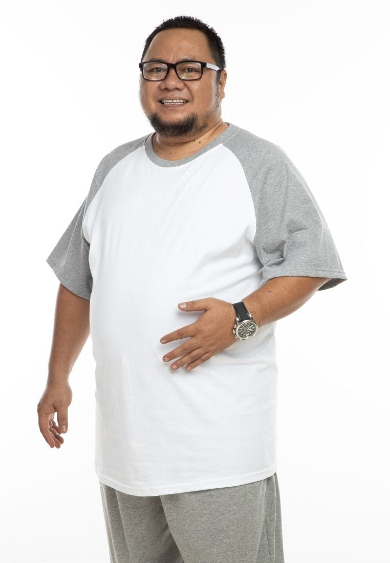 baju saiz besar plus size shirt mr big raglan t-shirt in white