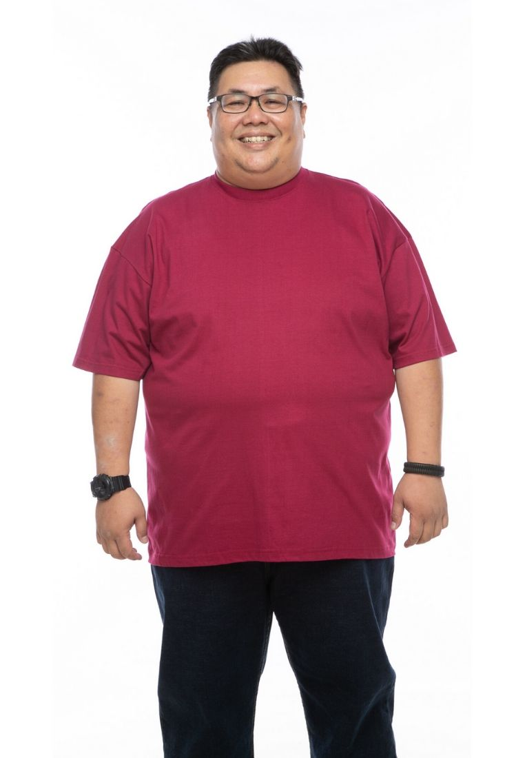 baju saiz besar plus size shirt mr big round neck t-shirt in maroon