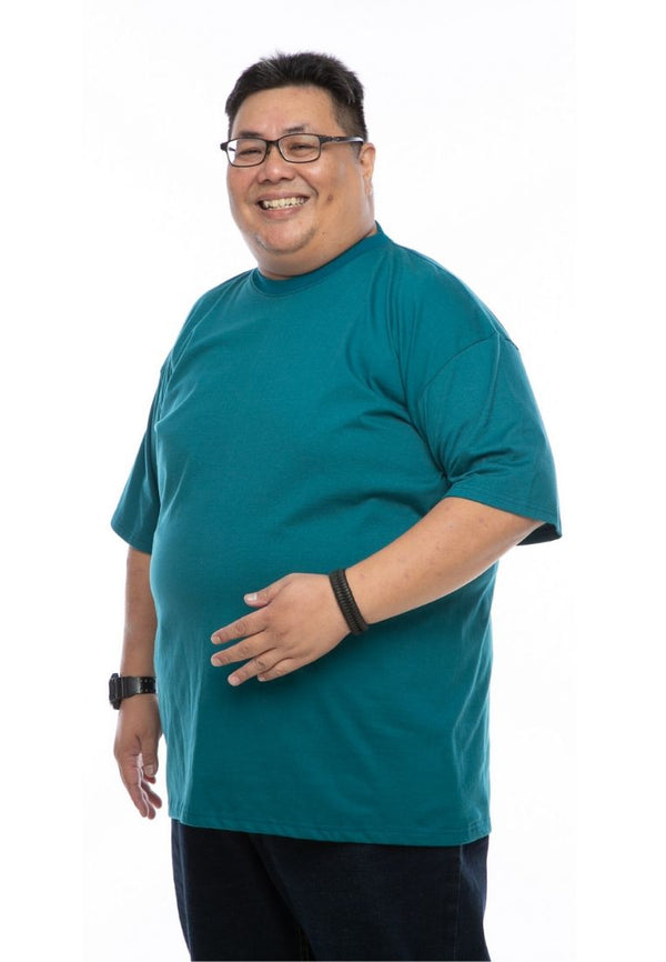 baju saiz besar plus size shirt mr big round neck t-shirt in turquoise #Color_Turquoise