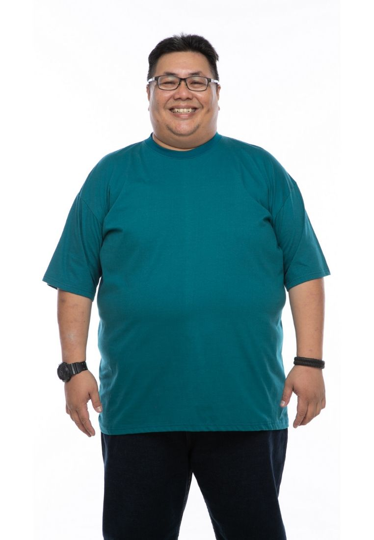 baju saiz besar plus size shirt mr big round neck t-shirt in turquoise