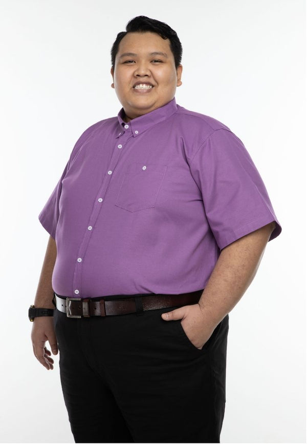 kemeja saiz besar plus size shirt oxford office short sleeve in violet #Color_Oxford Violet