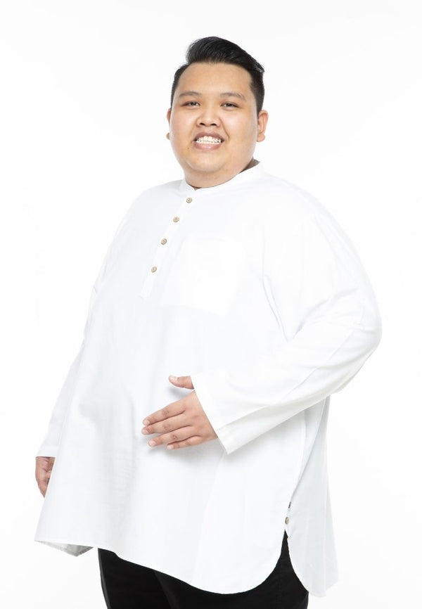 kurta saiz besar plus size shirt kurta adam v2 relax fit long sleeve in white #Color_AV2 White