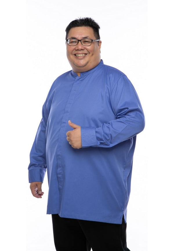 kurta saiz besar plus size shirt kurta iman long sleeve in blue slate #Color_Blue Slate