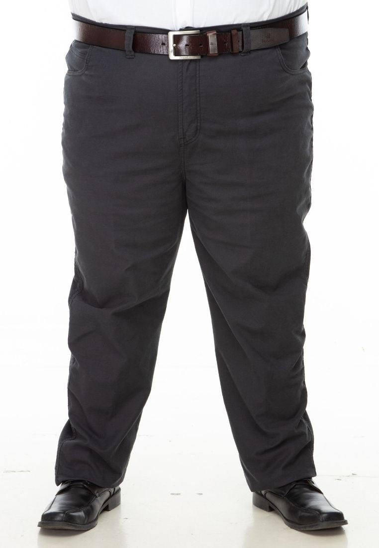 seluar saiz besar plus size pants stretchable cotton twill in charcoal grey