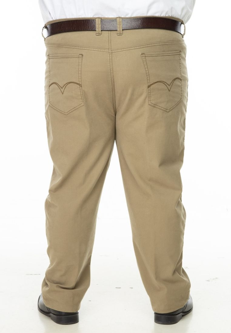 seluar saiz besar plus size pants stretchable cotton twill in hazelnut