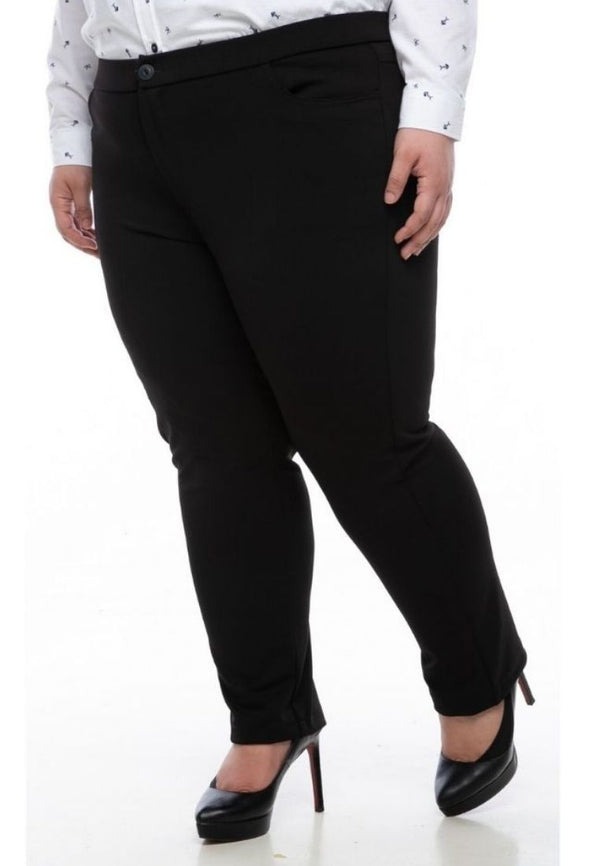 seluar wanita saiz besar plus size women pants mia stretchable slack in black #Color_Black